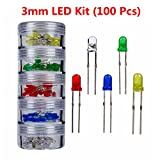 3 mm LED Kit (100 Pcs), Used in Prototyping, LED Decoration,Indicator light, Family Transformation, Backlight, Toys, Electronic Gifts, Instruments and Meters, lighting, Automotive Electronics and other Fields.