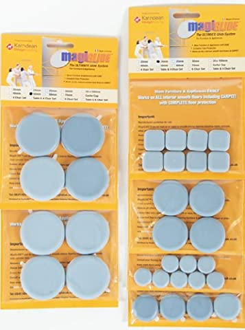MagiGLIDE 32 Piece Multi Set contains 8x20mm, 4x30mm, 4x40mm, 8x50mm Discs & 8x24mm Pads. The ULTIMATE Dual Purpose glider with easy movement & complete floor protection, endorsed by Karndean