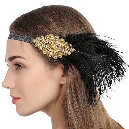 Paillette Flapper Stirnband Strass Verziert Gold Kopfbedeckung mit Schwarzer (Schwarz Und Gold Kostüm Flapper)