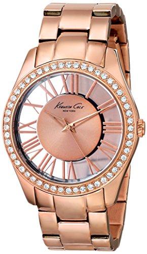 Kenneth Cole Transparency KC4852 - Reloj analógico de cuarzo para mujer, correa de acero inoxidable color dorado (agujas luminiscentes)