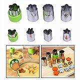 OFKPO 8 Stück Gemüse Obst Blumen Cutter Edelstahl Ausstecher für Plätzchen,Gemüse und Obst(Grün)