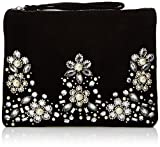 New Look Womens Jacquard Embellished Clutch Black (Black)