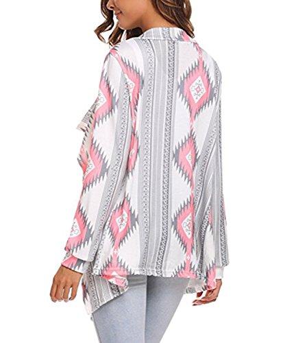 ZIOOER Pulls Cardigan Sweater Asymetrique Femme Veste en Tricot Motif Géométrique Imprimé Manteau Automne à Manches Longues Outwear Gilet Ouvert Fluide Jaquette Kimono Top Rose
