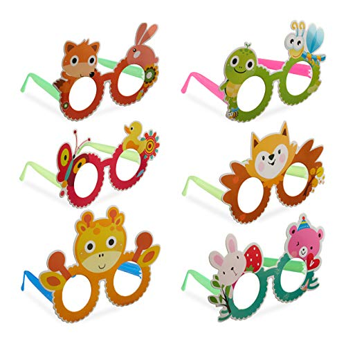 Relaxdays 10024249 Partybrillen Tiere, 6tlg. Set, Spaßbrillen für Kinder Geburtstag, Gagbrille Karneval, Kostüm-Accessoire, bunt, Unisex