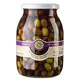 Oliven Mischung, grüne & schwarze Taggiasca-Oliven, mit Kern, in Lake, Venturino, 950g