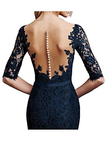 Ivydressing Damen modisch Etui kurz Rundkragen Halber Arm Tuell Spitze  Applikation Guertel Knopf gedeckt Abendkleid Heimkehr ...