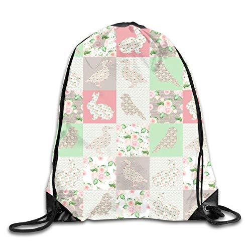 Drawstring Backpack Bags Pastel CHEATERQUILT Farm Animals Roses Flowers Baby Patchwork Duck Rabbit Goose Bird Sport Athletic Gym Sackpack for Men Women (Girls Camo Baby-kleidung)