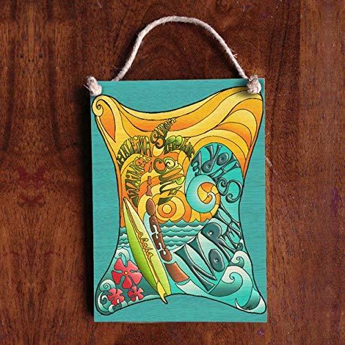 Zhaoshoping Surf Spots Schild Strand Urlaub Schild Tropische Strand Dekoration Surf Kunst Holz Wandkunst Landhausstil handbemalt Plakette
