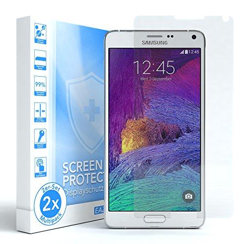 EAZY CASE 2X Panzerglas Displayschutz 9H Härte für Samsung Galaxy Note 4, nur 0,3 mm dick I Schutzglas aus gehärteter 2,5D Panzerglasfolie, Displayschutzglas, Transparent/Kristallklar