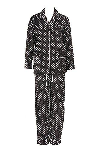 DKNY by Donna Karan Schlafanzug Pyjama Kuschelfleece Schwarz-Weiss