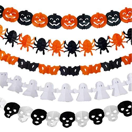 Zonster Papierkette Girlande Halloween-Dekoration Kürbis-Geist-Form-Halloween-Partei-Dekor Props Supplies