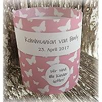 4er Set Tischlicht Tischlichter Kommunion Konfirmation Jugendweihe Taufe Schmetterlinge Deko Tischdeko personalisierbar rosa