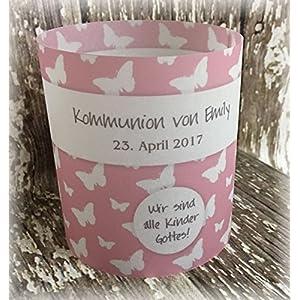 4er Set Tischlicht Tischlichter Kommunion Konfirmation Jugendweihe Taufe Schmetterlinge Deko Tischdeko personalisierbar…