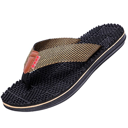 Yiiquanan infradito uomo supporto ad arco comodi sandali ortopedici per alleviare il dolore al piede (nero, asia 43)