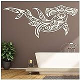 azutura Requin-marteau Sticker Muraux Tribal Autocollant Mural Sous la mer Décoration de maison disponible en 5 dimensions et 25 couleurs Grand Blanc...