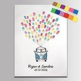 Leinwanddruck zur Hochzeit, für Fingerabdrücke, Autos mit Ballons, Fingerabdrücke als Ballons, DIY-Geschenk zur Hochzeit, Gästebuch für Party, Hochzeitsdekoration, personalisierbar, 20x28inch 50x70cm, Customize color