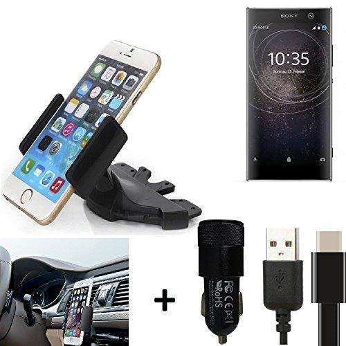 K-S-Trade® TOP SET para Sony Xperia XA2 Soporte Ranura de CD Smartphone coche para los dispositivos de navegación / teléfonos inteligentes montaje de la radio hecho smartphone teléfono móvil navegación GPS para Sony Xperia XA2 + CARGADOR