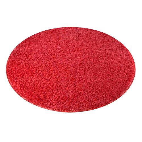 Hlhn, morbido tappeto rotondo antiscivolo, in velluto coral, per l'ingresso, il soggiorno, il bagno, 80 cm red
