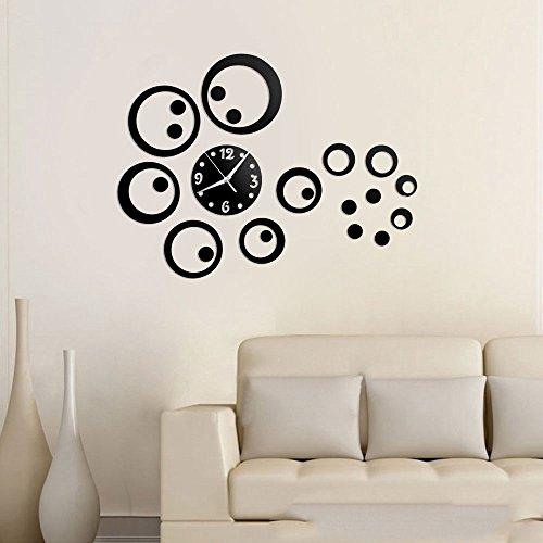Vetrineinrete® orologio da parete adesivo sticker componibile tridimensionale 3d nero moderno decorazione murales cerchi 0434b
