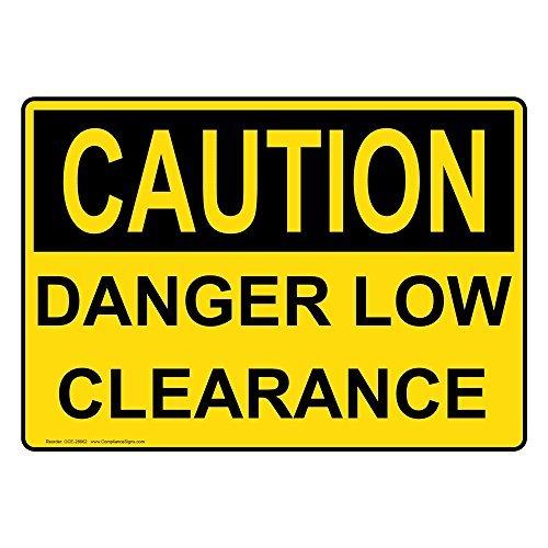 PeteGray OSHA Warnschild aus Aluminium mit Aufschrift Caution Danger Low Clearance, 20,3 x 30,5 cm, Gelb