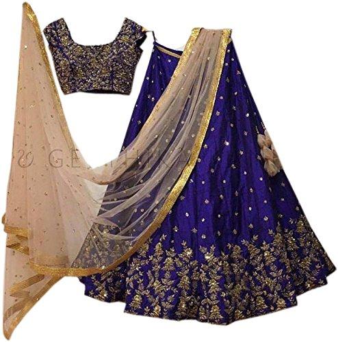 Limbudy Creation Women's Blue Silk Semi-stitched Lehenga cholis(Lim150_Blue_Freesize)