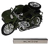 IMZ M72 Ural mit Seitenwagen Grün DDR Atlas Collection 1/24 Modellcarsonline Modell Motorrad