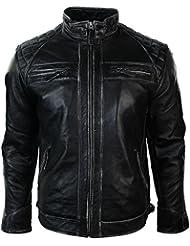 Hommes Retro zippé Blouson de moto en cuir véritable Porté noir Rub Vintage Style Off