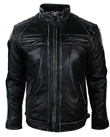 Mens Retro zippé Blouson de moto en cuir véritable Porté noir Rub Vintage Style Off
