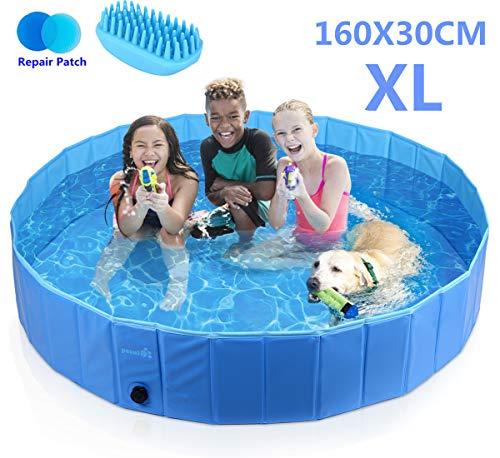 Pecute Hundepool Schwimmbad Für Hunde und Katzen Swimmingpool Hund Planschbecken Hundebadewanne Faltbarer Pool Für Kinder Den Hund Katze Geschenk - Haustier Badebürste L (160*30cm) - Nägel Heiße