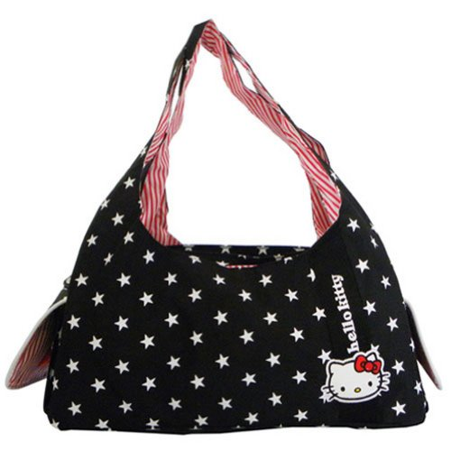 Sac shopping noir Hello Kitty etoile
