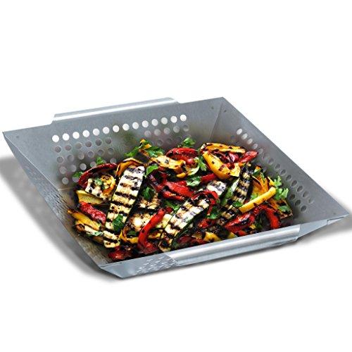 Grill Republic Premium Gemüse-Grillkorb Große BBQ-Grillschale aus Edelstahl | Zubehör für Holzkohle-, Elektro- und Gas-Grill sowie Backofen | Spülmaschinenfest | Maße: 30 x 34 x 6 cm -