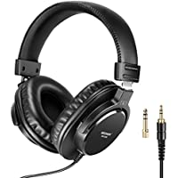 Neewer Studio Monitor Headphones - Dynamic Rotatable Headsets with 40mm Loudhailer Driver, 3 meters Straight and Coiled Cable, 1/4inch-6.35mm Plug Adapter for PC, Cell Phones, TV (NW-2000)