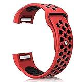 Komise Mode Sports Bracelet en silicone Strap Band pour Fitbit Charge 2, compatible avec poignet 150–200mm Taille unique Red