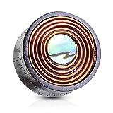 Autiga Holz Plug Flesh Tunnel Kupferdraht Perlmutt Wood Ear Plug Double Flared Saddle Fit Piercing braun 10 mm