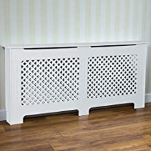 Vida Designs Oxford Radiator Cover Traditional White Painted MDF Cabinet, Large