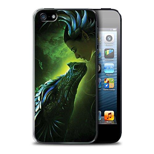 Officiel Elena Dudina Coque / Etui pour Apple iPhone SE / Pack 5pcs Design / Dragon Reptile Collection Écailles Vertes