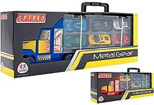 GLOBO- Die Cast Truck W/6 Cars 2 Ass. (38411), (1)