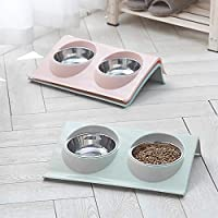 bottlewise Double Bowls Raised Stand for Cats Dogs Pet Puppy Stainless Steel Non-Slip Splash Feeder Food Bowl (Pink)