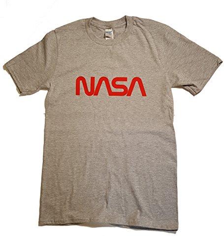 Herren T-Shirt, NASA-Logo, lizenziert, Vinyl-Aufdruck Grau