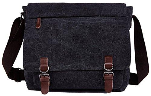 Bdawin Herren Canvas Laptop Schultertasche Umhängetasche Aktentasche Taschen,8645 Schwarz Schwarz