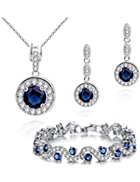 88401b06734 Crystalline Azuria Women 18 ct White Gold Plated Round Blue Simulated  Sapphire Zirconia Crystals Set Pendant
