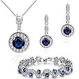 Ensemble collier boucles d'oreille et bracelet 18 carats plaqué or blanc avec...