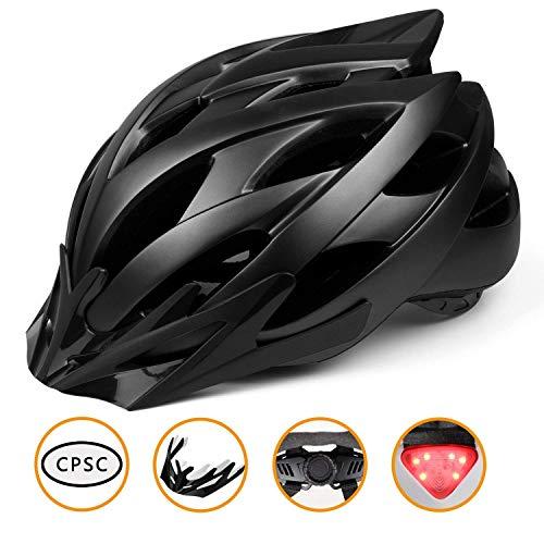Casco bici con luce led,certificato ce per la sicurezza,casco per adulti leggero con visiera rimovibile/prese d'aria multiple-sicurezza e confortevole per uomini/donne/giovani per montagna e strada