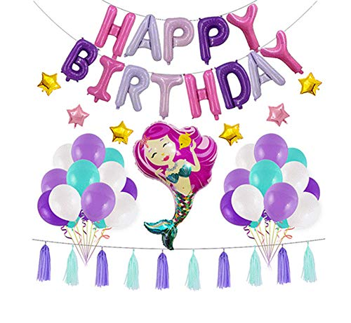 Onebycitess Mermaid Party Supplies - Komplett zusammengebaute Happy Birthday Banner, Quallen Waben, Latex Mermaid Ballons und Giant Mermaid Folienballon - Mermaid Birthday Party Supplies Dekorationen