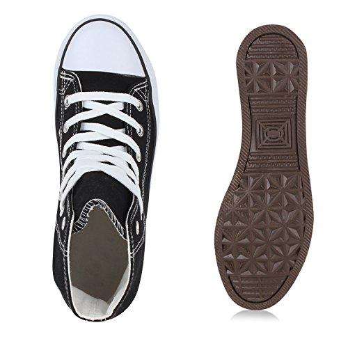 Damen Sneakers High Freizeit Turnschuhe Schwarz