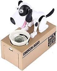 Rose International Hungry Dog Piggy Bank Robotic Coin Toy Money Box (White Black)