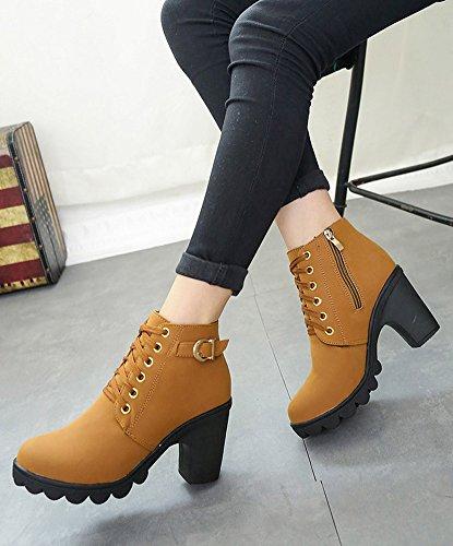 Minetom Hiver Bottines Mode Femmes Haut Talon Lacets Cheville Bottes Boucle Chaussures Martin Bottes Marron