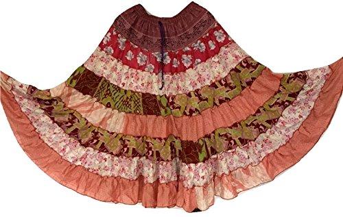 9 Yard Tribal Gypsy Maxi Tiered Skirt Jupes de danse du ventre Soie Blend Banjara Fits S M L 394