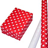 Geschenkpapier Weihnachten Set 2 Rollen, Sternen-Design aus weiß-silbernem Reliefglitter auf Perlglanz weißem Fond + Sternen-Design aus weiß-silbernem Reliefglitter auf rotem Fond. Für Weihnachten.