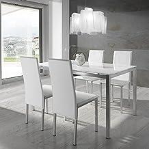 Conjunto mesa y 4 sillas Elodie Blanco/Plata
